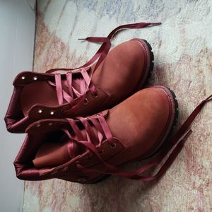 Timberland red brick satin lace up suede boots 8